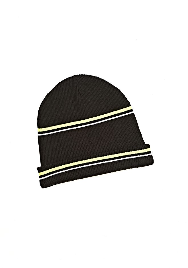 T by ALEXANDER WANG MERINO BLEND RIB KNIT BEANIE WITH STRIPE DETAIL Scarf & Hat Adult 12_n_f