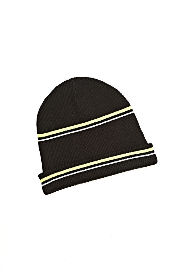 T by ALEXANDER WANG MERINO BLEND RIB KNIT BEANIE WITH STRIPE DETAIL Scarf & Hat Adult 12_n_r
