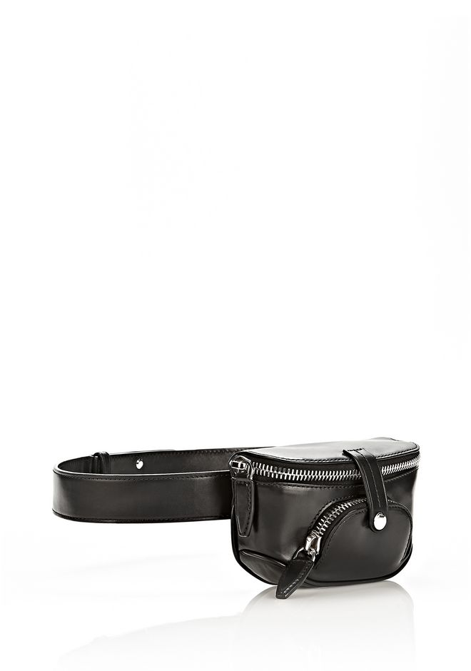 ALEXANDER WANG RUNWAY MINI FANNY PACK IN BLACK WITH RHODIUM SMALL LEATHER GOOD Adult 12_n_e