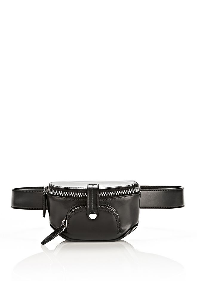 ALEXANDER WANG RUNWAY MINI FANNY PACK IN BLACK WITH RHODIUM
