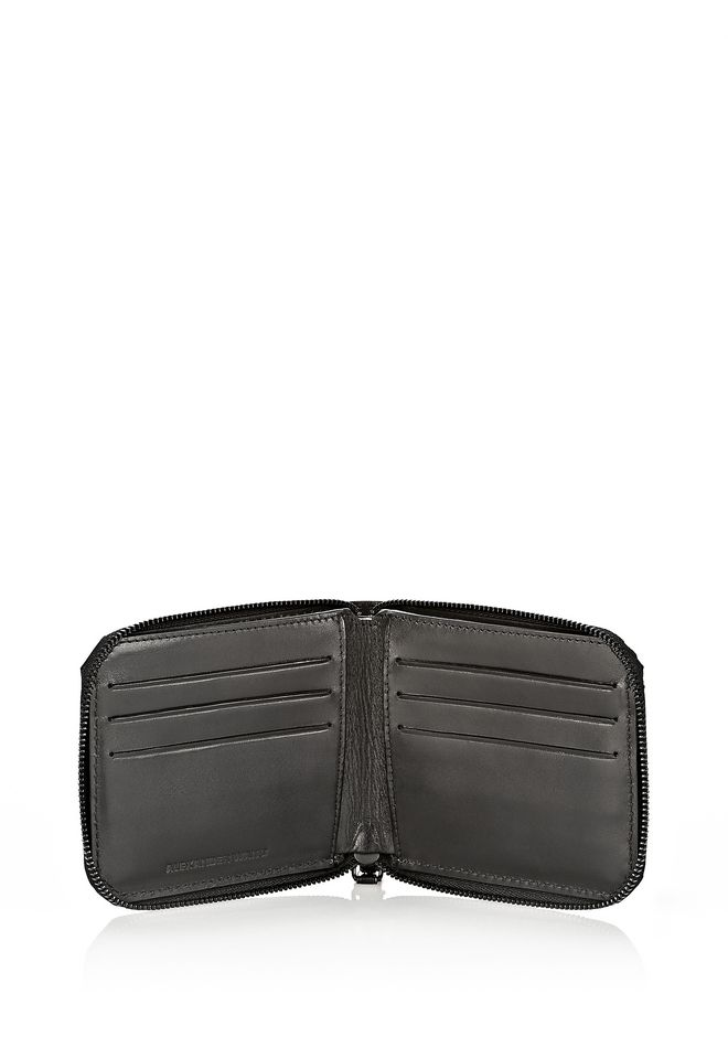 ALEXANDER WANG ZIPPED BI-FOLD IN BLACK EMBOSSED LAMB Wallets Adult 12_n_r
