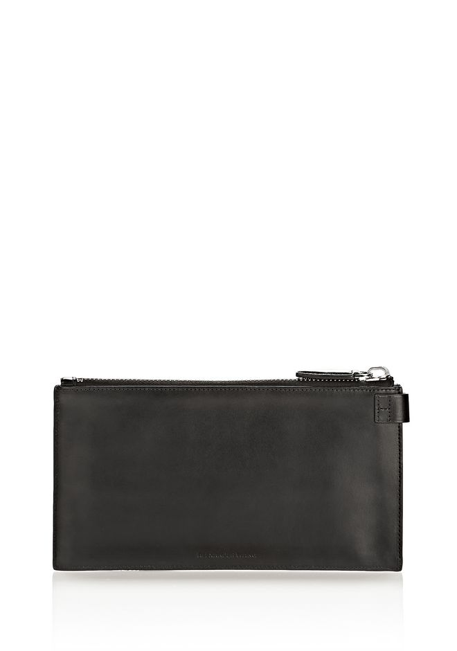 ALEXANDER WANG RUNWAY KEY CLUTCH IN BLACK WITH RHODIUM SMALL LEATHER GOOD Adult 12_n_d