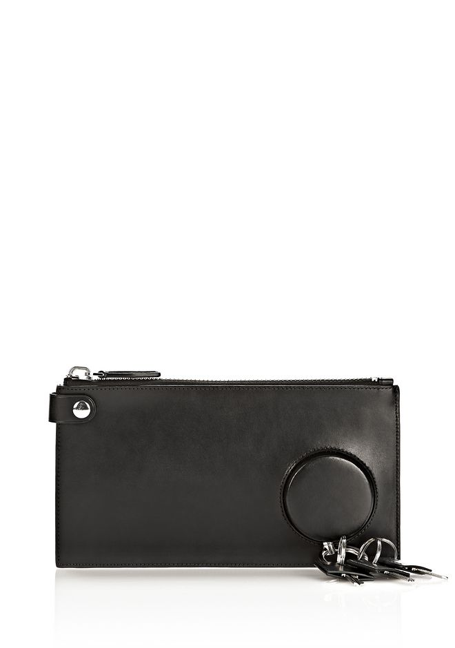 ALEXANDER WANG RUNWAY KEY CLUTCH IN BLACK WITH RHODIUM