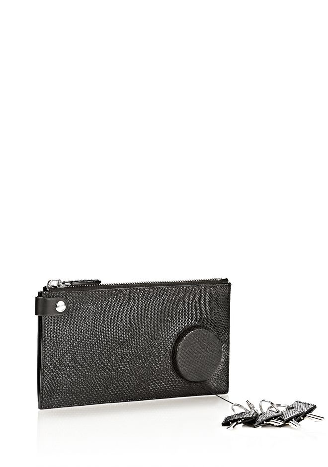 ALEXANDER WANG RUNWAY KEY CLUTCH IN EMBOSSED BLACK WITH RHODIUM SMALL LEATHER GOOD Adult 12_n_e