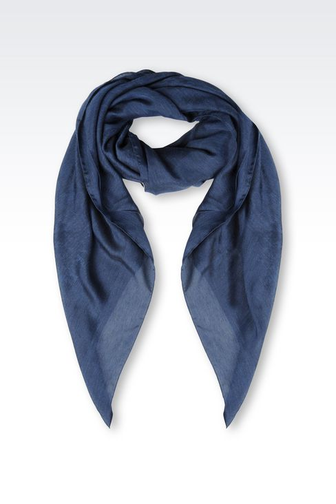 VISCOSE AND SILK NECK SCARF: Foulards Women by Armani - 1