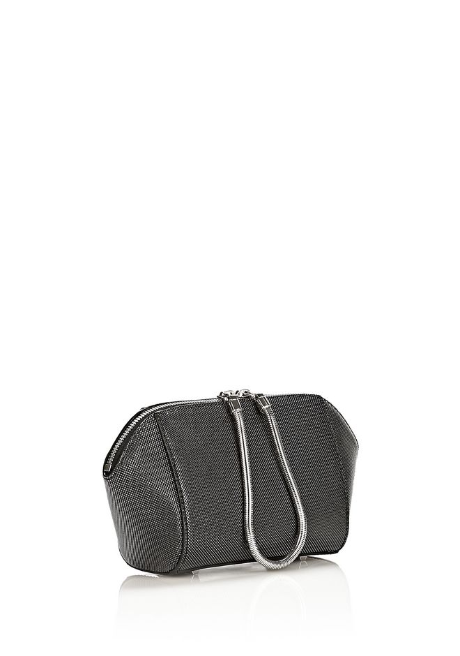 ALEXANDER WANG CHASTITY MAKE UP POUCH IN CARBON SMALL LEATHER GOOD Adult 12_n_e