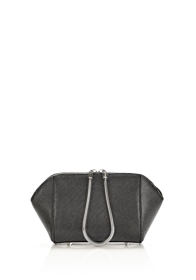 ALEXANDER WANG CHASTITY MAKE UP POUCH IN CARBON SMALL LEATHER GOOD Adult 12_n_f