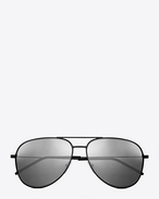 CLASSIC 11 AVIATOR SUNGLASSES IN black stainless STEEL WITH silver mirrored LENSES