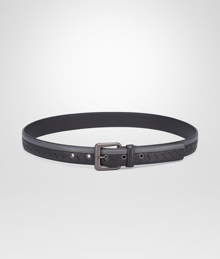BELT IN MEDIUM GREY NERO INTRECCIATO NAPPA
