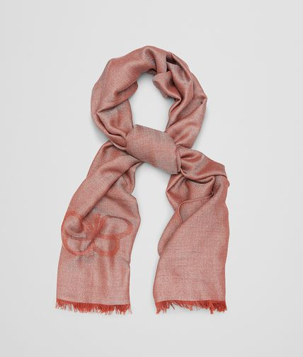 SCARF IN SAND RED CASHMERE WOOL SILK