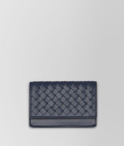 浅碧玺蓝编织皮革卡片包