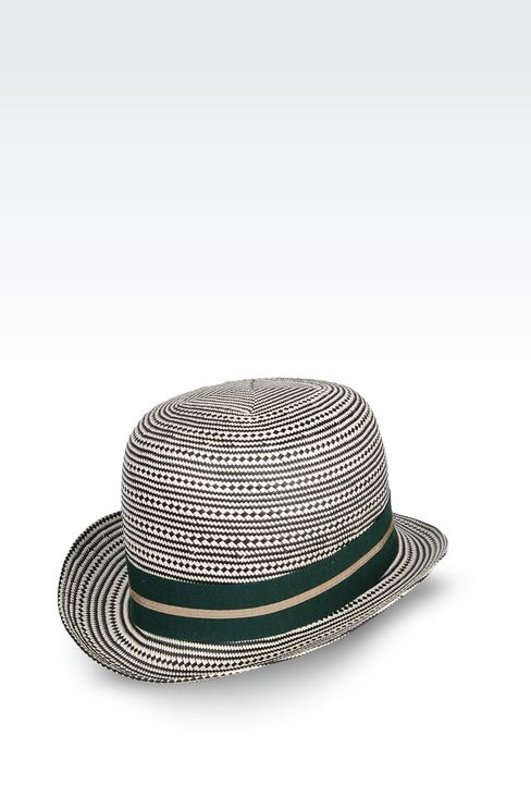 TWO-COLOUR NARROW-BRIMMED HAT: Hats Women by Armani - 1