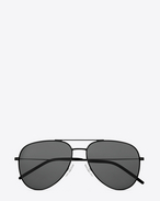 Small CLASSIC 11 AVIATOR SUNGLASSES IN Shiny Black STAINLESS STEEL WITH Grey LENSES