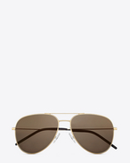 Small CLASSIC 11 AVIATOR SUNGLASSES IN Rose Gold STAINLESS STEEL WITH Grey-Bronze Mirrored LENSES