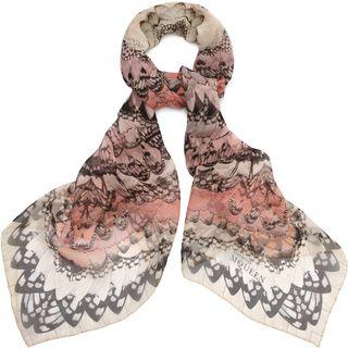 ALEXANDER MCQUEEN, Silk Fashion Scarf, Rainbow Wings Print Scarf