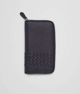 DARK NAVY WASHED CERVO INTRECCIATO ZIP AROUND WALLET