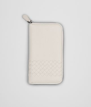 MIST WASHED CERVO INTRECCIATO ZIP AROUND WALLET