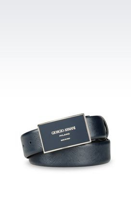 Armani Leather belts Men adjustable belt in saffiano calfskin