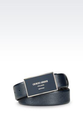 Armani Leather belts Men adjustable belt in saffiano calfskin