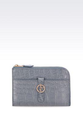 Armani Wallets Women zip around wallet in crocodile