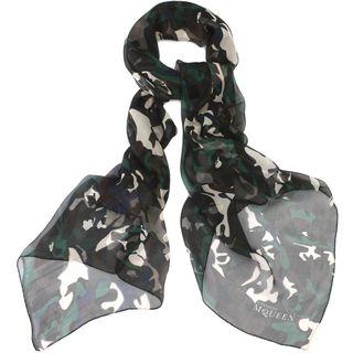 ALEXANDER MCQUEEN, Silk Fashion Scarf, Camouflage Silk Skull Scarf