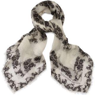 ALEXANDER MCQUEEN, Wool Fashion Scarf, Eaten Lace Silk & Wool Scarf