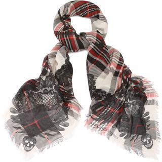 ALEXANDER MCQUEEN, Silk Fashion Scarf, Multilace Branded Silk Blend Scarf
