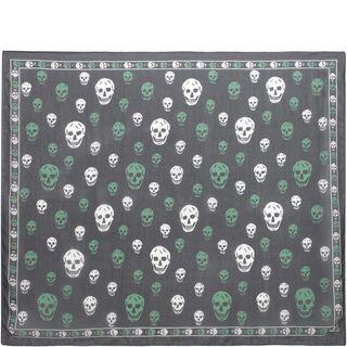 ALEXANDER MCQUEEN, Silk Scarf, Classic Silk Chiffon Bicolor Skull Scarf
