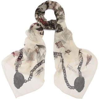 ALEXANDER MCQUEEN, Silk Fashion Scarf, Treasure Skull Silk Chiffon Scarf