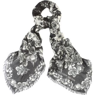 ALEXANDER MCQUEEN, Silk Fashion Scarf, Floral Eaten Logo Scarf