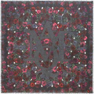 ALEXANDER MCQUEEN, Silk Fashion Scarf, Cross Hatch Floral Scarf
