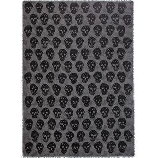 ALEXANDER MCQUEEN, Wool Fashion Scarf, Skull on Flower Scarf