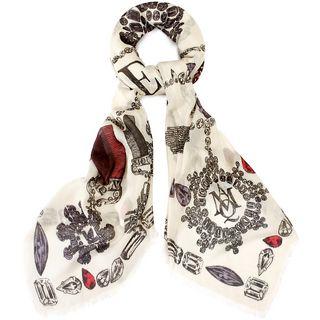 ALEXANDER MCQUEEN, Silk Fashion Scarf, Gems Logo Scarf