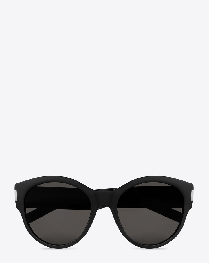 SAINT LAURENT BOLD 67 SUNGLASSES IN BLACK ACETATE WITH BROWN-GREY LENSES