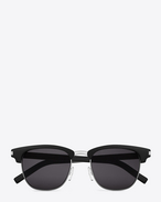 SAINT LAURENT CLASSIC 83 SUNGLASSES IN BLACK ACETATE AND SILVER METAL WITH GREY LENSES