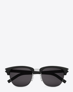 SAINT LAURENT CLASSIC 83/F SUNGLASSES IN BLACK ACETATE AND SILVER METAL WITH GREY LENSES