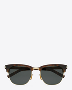 CLASSIC 83/F Sunglasses in Dark Havana Acetate and Gold Metal with Grey-Green Lenses