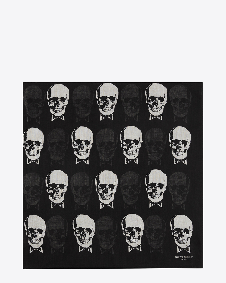 Saint Laurent Large Square Scarf In Black And Ivory Skull Printed ...