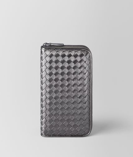 ZIP AROUND WALLET IN ARGENTO OSSIDATO INTRECCIATO GROS GRAIN