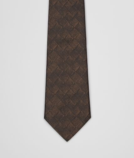TIE IN COFFEE BLACK SILK