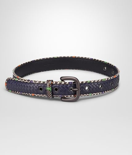 ATLANTIC MIST MULTICOLOR MADRAS AND HAND PAINTED EXOTIC SKIN BELT