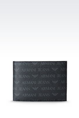 Armani Wallets Men bi-fold wallet in pvc with all over logo