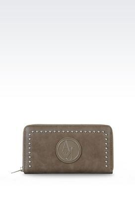 Armani Brieftaschen Für sie portemonnaie mit rundumreissverschluss aus kunstleder mit kleinen nieten