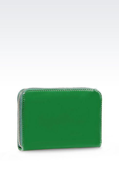 ZIP AROUND WALLET IN FAUX PATENT LEATHER WITH LOGO: Wallets Women by Armani - 2