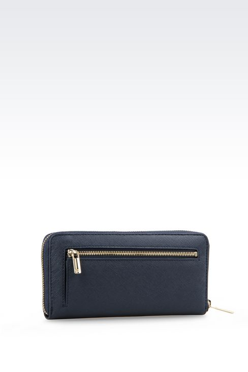 ZIP AROUND WALLET IN FAUX SAFFIANO: Wallets Women by Armani - 3