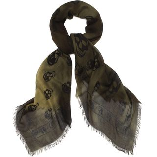 ALEXANDER MCQUEEN, Men's Scarf, Olive and Black Modal and Silk Antique Skull Scarf