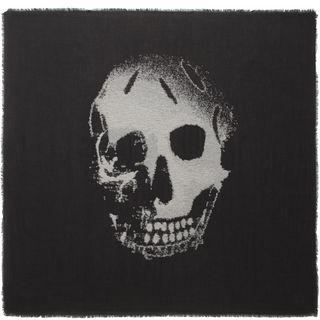 ALEXANDER MCQUEEN, Men's Scarf, Black Huge Degrade Skull Scarf