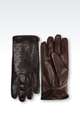 Armani Gloves Men glove in logo patterned napa leather