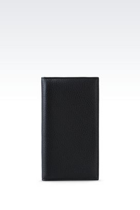 Armani Wallets Men yen wallet in tumbled calfskin