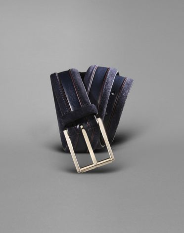 CALFSKIN BELT WITH CONTRAST PIPING